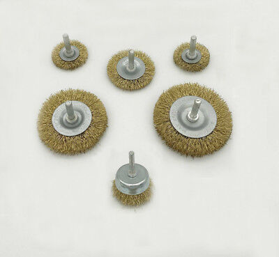 Brass Steel Copper Wire Brush Wheel Flat Or Cup 6mm Shank For Rust Paint Removal