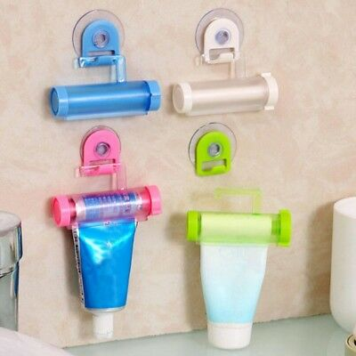 Toothpaste Dispenser Rolling Squeezer Holder Hanging Hook Plastic Suction Gift