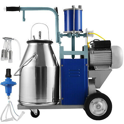 25L Electric Milking Machine For Goats Cows W/Bucket 2 Plug 12Cows/hour Milker