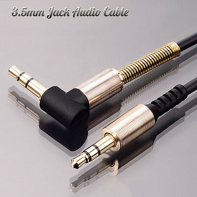 1m 3.5mm Jack Audio Cable Adapter Male To Male 90 Degree Right Angle Flat Aux /S
