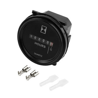 Black 2In Hour Meter For Cart Marine Boat Tractor Generator Engine 6-80V IN