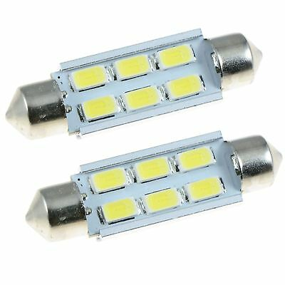 2 X Blanc 42mm Samsung 6SMD 5630 Canbus Guirlande LED Ampoule Paire