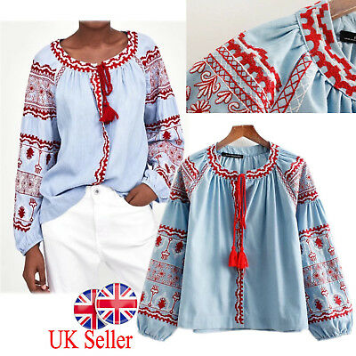 7e5652e7ff8ebf UK Womens Retro Floral Embroidered Tops Blue Tassel T Shirts Cotton Blouses  Gift