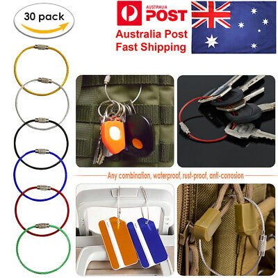 Stainless Steel Wire Keychain Cable Key Ring Chains for Outdoor Hiking 30Pcs/Set
