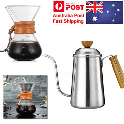 Coffee Drip Stainless Steel Kettle Tea Pot w/Wood Handle Pour Over Coffee Maker