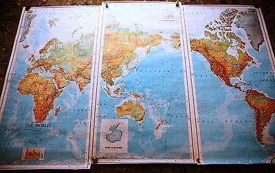 The World - Vintage Original 3 Panel Army AMPV Series 1125 Wall Map - RARE FIND