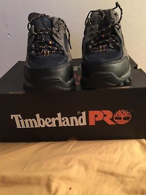 TIMBERLAND PRO Athletic Work Shoes,Steel toes. 61009, Gray/Sapphire. Size 9.5.