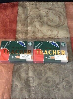 🍎 Starbucks 2018 Thank You Teacher Gift Card Lot Of 50