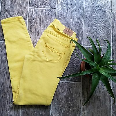 Abercrombie Kids Girls skinny jeans size 14 bright yellow low rise thick stretch