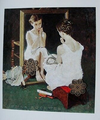 "Vtg Art Print Norman Rockwell Poster 12"" x 15"" Girl at the Mirror"