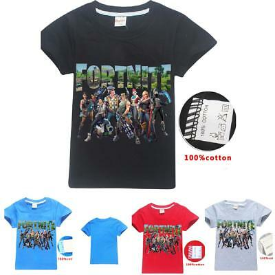 100% cotton Boys Girls Fortnite Cartoon T-shirts Tops Shirt Costume tshirts New