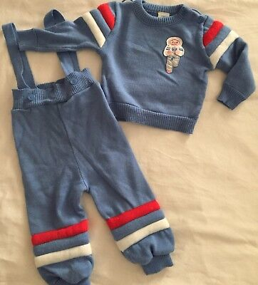 Boys Baby Togs Sweater Romper Pants Outfit 70's Olympics 12 Months