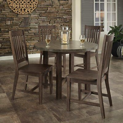 Home Styles Urban Concrete Chic 5 Piece Dining Table Set, Brown, 1