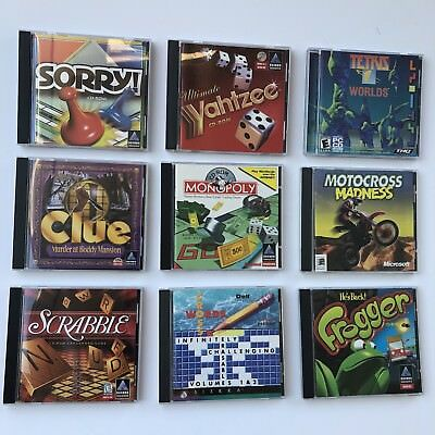 Lot Of (10) PC CD Rom Board Games Clue Monopoly Yahtzee Sorry Scrabble and more