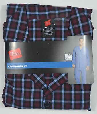 Hanes #5314 NEW Men's Multi-Colored Plaid Long Sleeve and Pant Woven Pajama Set