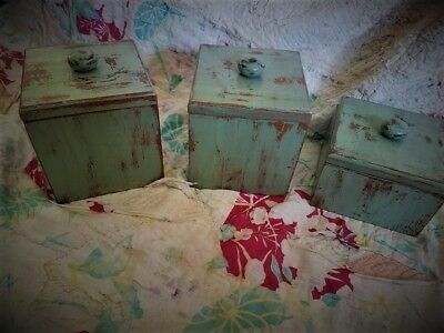 Primitive Solid Wood Canister Set Hand Painted Sage Green Sealed with Liners