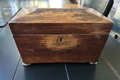 Small antique rosewood box with compartments
