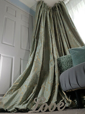 """Large Bay Curtains Damask Heavy Lined Copper Gold Heavy Huge 52/"""" Width116/"""" Long"""