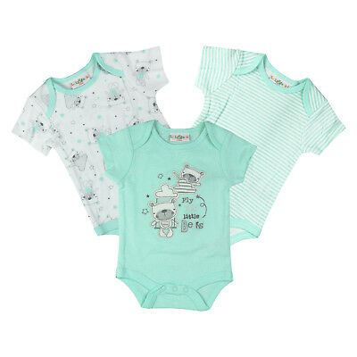 Baby Boys Girls Unisex 3 Pack Short Sleeve Bodysuits Vests 100% Cotton Green
