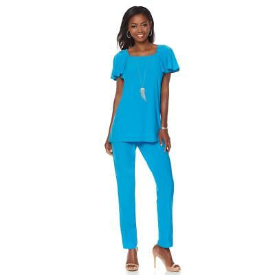 Antthony Women's Flutter Sleeve Basket Weave Top Pant Set Turquoise Small Sz HSN