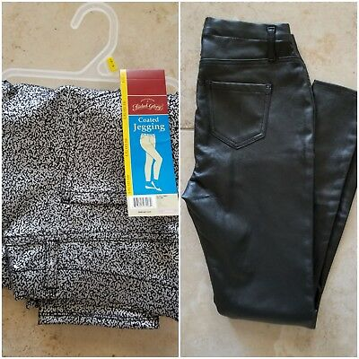 Faded Glory Coated Jeggings Sizes: S, L Colors: Black, Silver/Black New with Tag