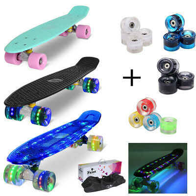 "22"" Kinder Skateboard Retro Mini Cruiser Board Pennyboard Komplettboard LED Deck"