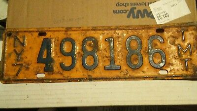 Vintage New York State Highway  Truck Milage Tax License Plate NY7 TMT Original