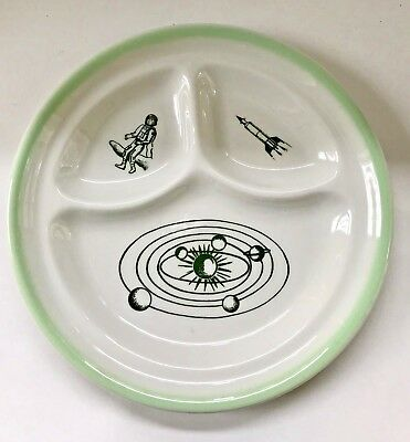 Vintage Sterling China Divided Child's Plate Space Rocket Midcentury MCM