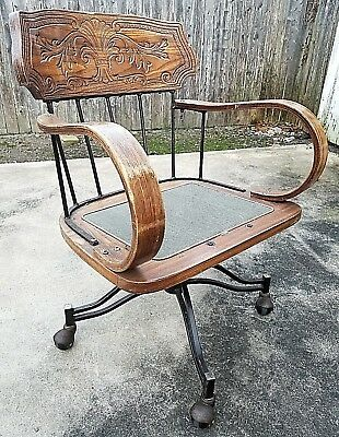 Vintage Bentwood Fleur De Lis Engraved Back Swivel Office Desk Chair No Cushion