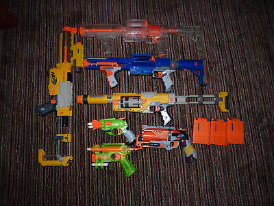 Lot of 7 Nerf Dart Guns RAIDER CLEAR RECON SPECTRE Silencer Stocks Clips Darts