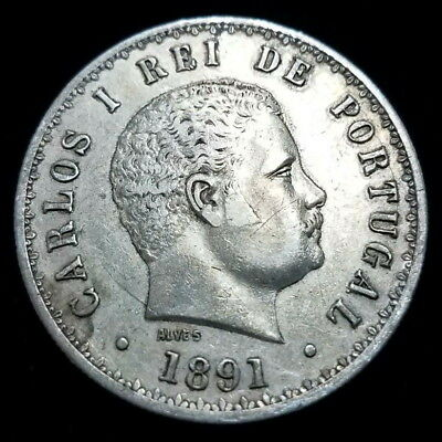 1891 Portugal 500 Reis Carlos I  .917 Silver 12.4g Collector Coin (PGL591