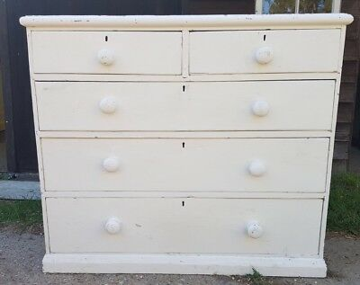 Edwardian Solid Painted Pine Chest Of Drawers