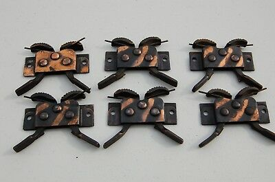 6 VTG Antique Window Victorian Hardware Latch Lock Catch - Steel 1896 Japaned
