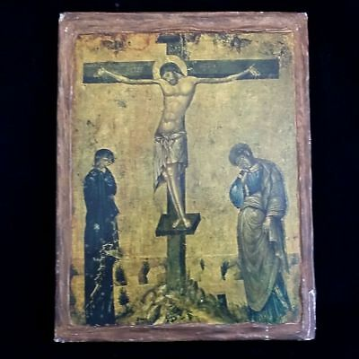 Antique Icon of the Crucifixion with Mary & John
