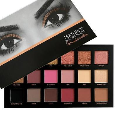 HUDA Beauty ROSE GOLD textured Eye Shadow Makeup Palette 18 colours BRAND NEW