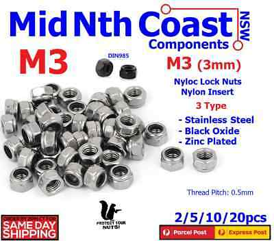 M3 Nylock Nuts Stainless / Black Carbon Steel Nyloc Nylon Insert Hex Lock Nuts