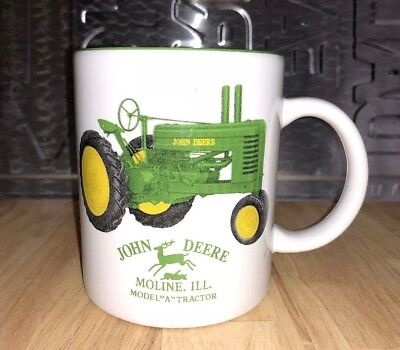 "John Deere Model ""A"" Tractor Ceramic Cup Coffee Mug marked Moline, Illinois"