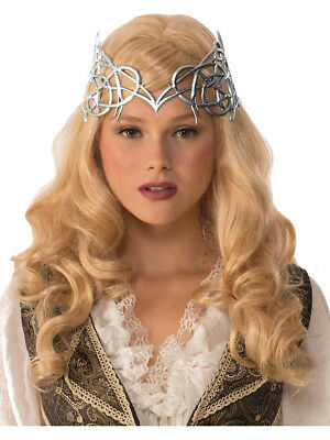 Womens Royal Medieval Silver Crown With Gold Ribbon Tie Costume Accessory