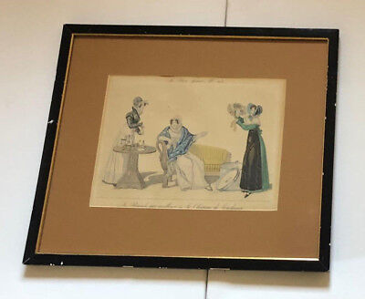 "Pair of Le Bon Genre Antique Colored Fashion Prints No. 73 & 113 Framed 16""x19"""
