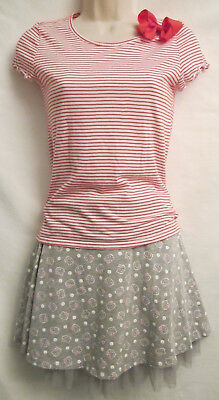 2 Piece Lot Girls Size 14 Justice Top Hello Kitty Skirt & Red Hairbow Clip