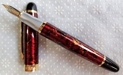 LuoShi High-grade Red Marble Material 22KGP 0.7mm Nib Fountain Pen #958