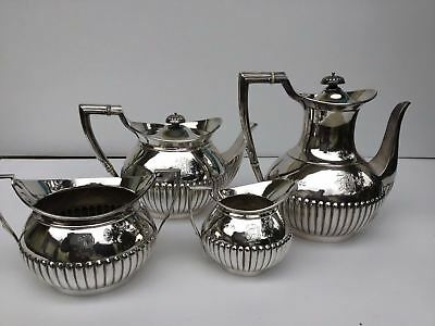 Antique sterling silver tea coffee set 4 piece hallmarked