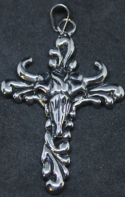 Bullhead on Cross Style Pendant Key Ring 316L Stainless Steel