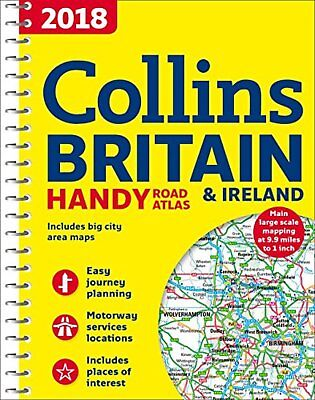 2018 Collins Handy Road Atlas Britain Handy A5 Sized Guide Map Spiral Bound Book