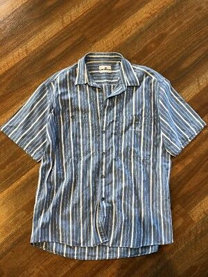 VINTAGE Cerruti 1881 Sport Stripe Short Sleeve Casual Shirt Large-xl