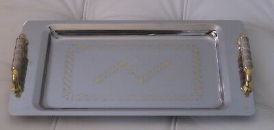 Vintage Art Deco Goirinox Stainless Steel Serving Tray with 24K gold highlights
