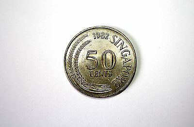 First Series - Singapore 1982 Fifty Cents Stylized Lionfish Coin - Rare - CNN103