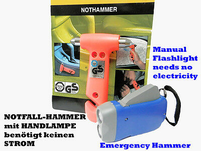 NOTHAMMER mit HANDLAMPE/EMERGENCY HAMMER and MANUAL FLASHLIGHT