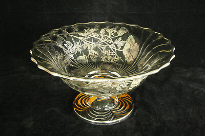 Vintage Faux Cambridge Glass Caprice Clear Viking Floral Silver Overlay Bowl