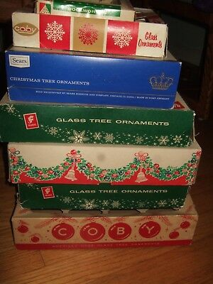 Lot of 7 Empty Vintage Christmas Ornament Boxes coby sears more sizes as is